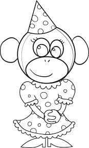 free printable cartoon monkey coloring kids 4