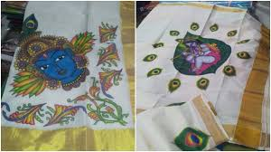 Mural Designs by Latest Mural Painting On Kerala Sarees Designs Youtube