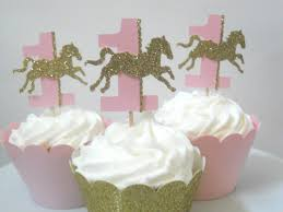 Horse Birthday Decorations 12 Carousel First Birthday Decorations Carousel Horse Cupcake