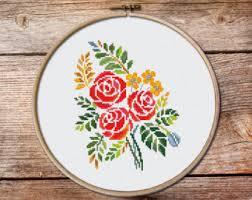 floral cross stitch etsy