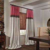 Pinch Pleat Drapes 96 Inches Long Living Room Grey Color Block Rod Pocket Drapery With Color Block