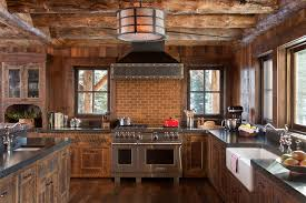 Kitchen With Brick Backsplash Wood Vent Hood Kitchen Rustic With Brick Backsplash Cabin Drum