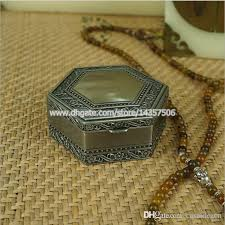 jewelry box favors 2018 antique hexagon metal jewelry box trinket box flower hinged