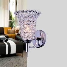Wall Sconce Shade Elegant Single Light Flower Like Crystal Shade Stylish Wall Sconce