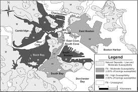 Map Of South Shore Boston by Liquefaction Susceptibility Mapping In Boston Massachusetts