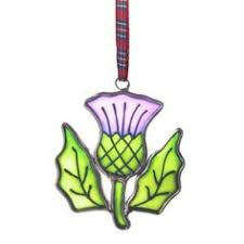 scottish thistle stained glass tree ornament