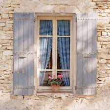 european photo of window with flowerpot and blue gingham curtains