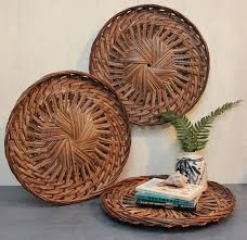 bamboo wall basket large round rattan tray shallow flat basket