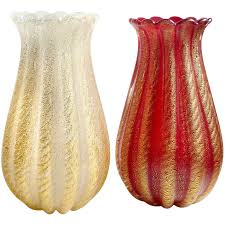 White Glass Vases Ercole Barovier Toso Murano Red And White Gold Flecks Italian Art