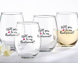 will you be my bridesmaid pink 15 oz stemless wine glass