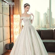 wedding dress version one shoulder wedding dress qi to 2018 new winter korean