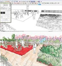drawn landscape sketchup pencil and in color drawn landscape