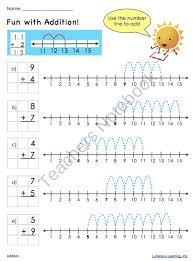 addition addition on number line free math worksheets for