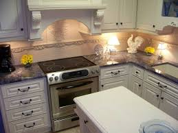 Backsplash With Granite Countertops by Blue Bahia Granite Countertops Look Great With White Cabinetry