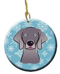 weimaraner ornament in wood or mirror acrylic customizable with name