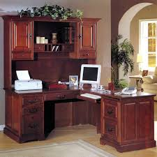 Funiture Corner Office Desk Ideas Using Corner Light Oak Wood