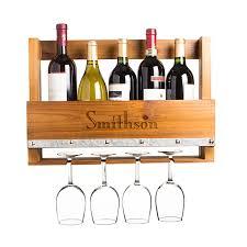 personalized rustic wooden wall mounted wine bottle u0026 stemware rack