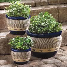 wholesale cobalt blue geometric design ceramic flower pots set of 3