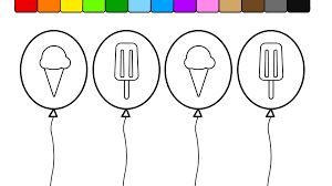 learn colors for kids and color this ice cream popsicle balloon