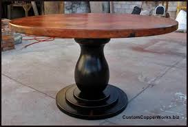 Round Copper Dining Table Wood Pedestal Table Base - Copper kitchen table