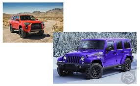 jeep wrangler limited vs unlimited car wars jeep wrangler rubicon unlimited vs toyota 4runner trd