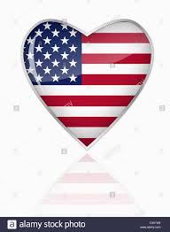 American Flag In Text American Flag In Heart Shape On White Background Stock Photo