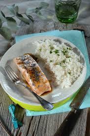cuisiner le riz basmati saumon laqué au balsamique et riz basmati recette tangerine zest