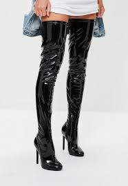 black vinyl thigh high boots missguided