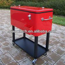metal rolling patio mobile wine ice chest cart patio cooler box