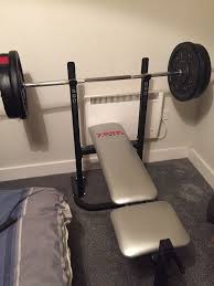 Bench Press Machine Bar Weight York Bench Press With Weight Plates And Bar In Manchester Gumtree