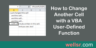 how to change another cell with a vba function wellsr com