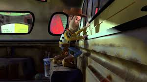 story buzz and woody in a car