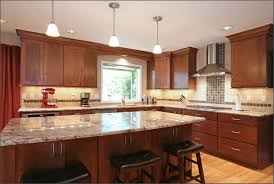kitchen interiors design red kitchen interior design with brown oak cabinet using sand gray