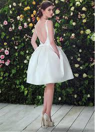 knee length wedding dress buy discount satin bateau neckline a line knee length