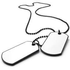 konov army style 2pcs dog tag pendant mens necklace chain white