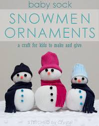 stitched by baby sock snowmen