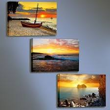Wall Decor Canvas 3 16x32 Panel Wall Art Painting Beach Sunrise White Wave Prints On