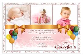 personalized girls 1st first birthday party invitation with pink