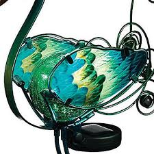 solar peacock garden stake 21in decor light out door lawn statue