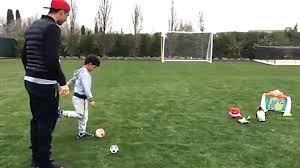 Backyard Football Free Cristiano Ronaldo Practices Free Kicks In His Garden With His Son