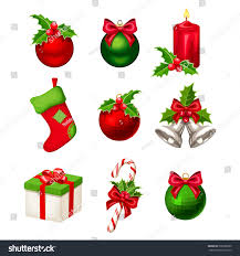set red green christmas decorations balls stock vector 530786605