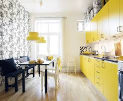 yellow kitchen design yellow kitchen design with wooden floor and dining table kitchen