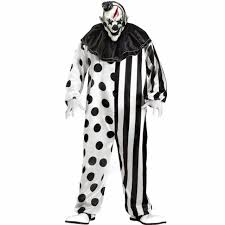 scary costumes for men 2017 plus size striped kill clown party costumes men jumpsuit mask