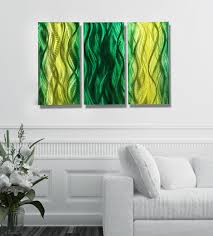 bliss fusions of green contemporary multi panel metal wall art