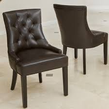 Brown Leather Accent Chair Set Of 2 Noble House Furniture