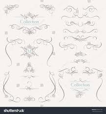 collection calligraphic elements decorative monograms borders