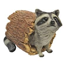 raccoon statue multicolored lawn ornament outdoor garden home