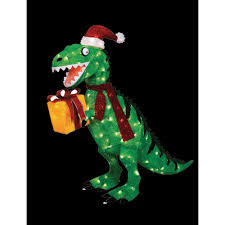 home accents holiday 42 in animated tinsel dinosaur with present