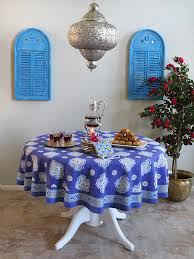 Round Kitchen Table Cloth by Moroccan Round Tablecloth Blue Round Tablecloth Round