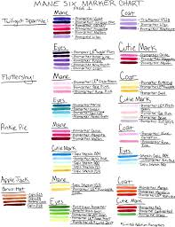 mane six color chart page 1 by frostykat13 on deviantart